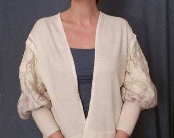 White wool cardigan  \  белый шерстяной кардиган