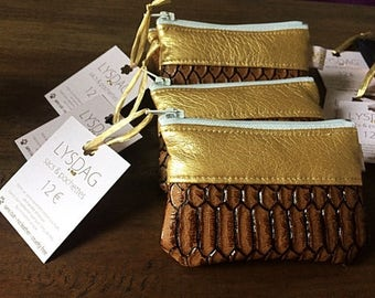 Zipped wallet camel and gold and/or marine and copper