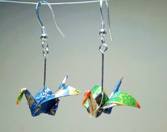 Origami - crane earrings / / Origami crane earrings