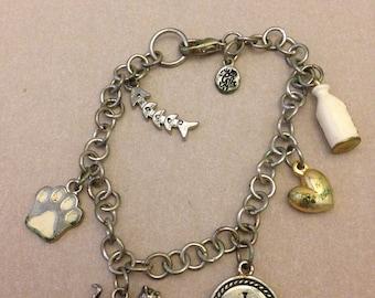 Vintage Cat Lover Charm Bracelet