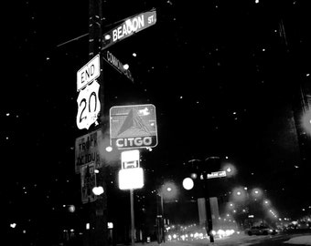 Beacon Street/Commonwealth Avenue intersection; Citgo Sign; snow scene; Boston, MA; Boston University