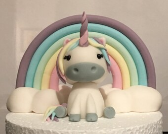 Unicorn and Rainbow Cake Topper