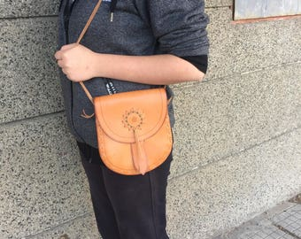 Vintage Leather Bag, Travel Handbag, Womans Purse, Brown Leather Bag, Genuine Brown Leather Bag, Small Bag.