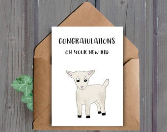 DIGITAL DOWNLOAD, Funny New Baby Card, Printable Baby Shower Card, Funny Pregnancy Card, Goat, New Kid, Expecting Card, Pun Baby Card