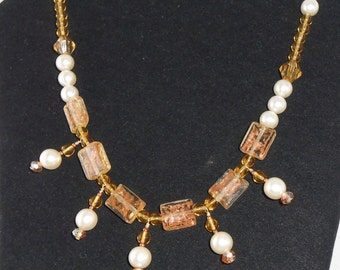 Golden honey colored Renaissance inspired pendent necklace