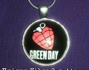 Green Day, Punk Music Inspired, Cabochon Charm Necklace