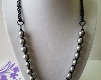 Gray Linked Pearls and a Ball of Rhinestones in Black Chains Necklace