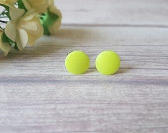 Neon yellow stud earrings, Neon earrings, Cute earrings, Summer earrings, Stud earrings yellow neon, Bright yellow earrings, Neon jewelry