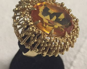 Vintage Corletto 18K Gold With 7.5 carat citrine ring size 7 1/2
