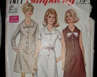 Simplicity vintage dress pattern, size 18 bust 40, 1967
