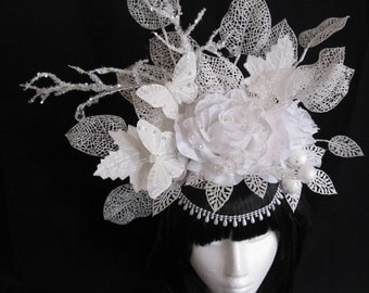 "Head dress ""Snow White"" white winter fantasy headpiece Ice Princess Butterfly headdress Gothic"
