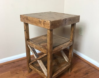 Farmhouse 3 Tier Side Table | Bedside Table | Accent Table | Corner Table