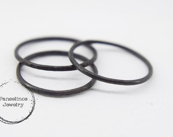 Oxidized skinny sterling silver ring, oxidised skinny silver ring