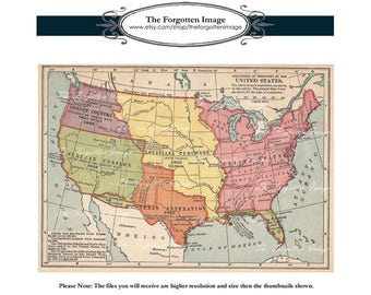 Vintage Digital Historical Map Acquisition Of Territory By The United States Map Instant Download