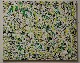 "JACK: ABSTRACT ACRYLIC Painting. Drip Painting. Jackson Pollock Style. 16""x20"" (40x50cm) Original Handmade Item."