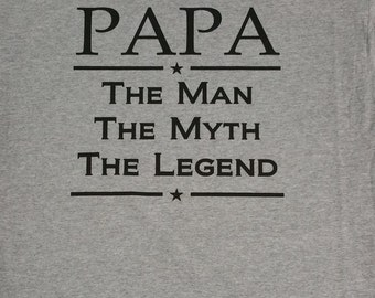 Papa The Man The Myth The Legend Shirt, Grandpa Tees, Custom Design Tees, Personalized Tee, Grandparent gifts, Granddad Tee, Father's Day