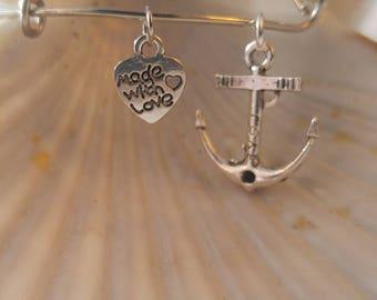 Anchor Adjustable Bangle Bracelet