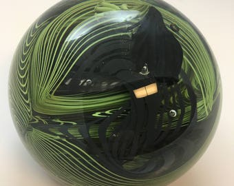 Handmade Glass Paperweight with Green and Black lines