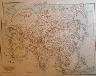 Original Antique Map of Asia