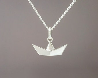 Sterling silver origami boat necklace - Sterling silver origami paper boat - Origami boat - Little silver - Sterling silver paper boat