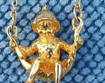 The Franklin Mint - Happy Elf  Pendant  24K electroplate