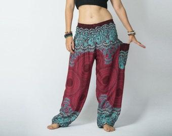 Mandala Print High Cut Genie Harem Pants in Red / Pants with Pockets / Bohemian Gypsy Pants / Music Festival Pants / Yoga Pants - CP PNT004