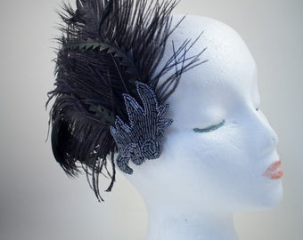 Flapper Fascinator, Feather Fascinator, Hair Clip, Gatsby, Prom, Bridal, Black Hair Clip, Beaded Applique