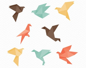 Origami Birds SVG- Silhouette Studio or Cricut Explore- Instant Download file- Vector Designs- svg, pdf, eps, png, dxf- Birds Vinyl- Digital