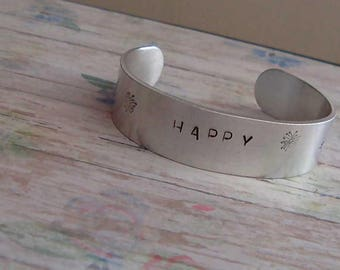 Happy hand stamped cuff bracelet in alluminuim