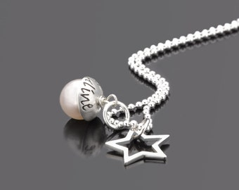 LYHO STAR 925 Silver Chain gift personalized with engraved name Pearl star