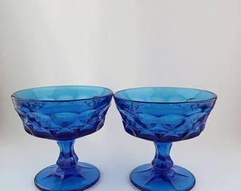 Vintage Noritake Perspective Cobalt Blue Sherbert Dish Set Of 2