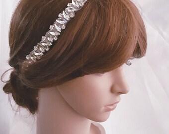 Silver Wedding Headband, Bridal Headpiece, Rhinestone Headband, Hair Tiara, Flower Girl,Hair Jewelry, Bridesmaid, Hair Accessory