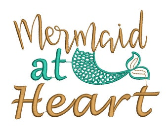 Mermaid at Heart Embroidery Design, beach Embroidery Design, summer embroidery, mermaid embroidery design, Girl embroidery, baby embroidery