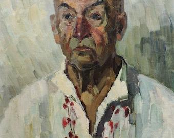 Sale 20%! VINTAGE MALE PORTRAIT, Original Oil Painting by Soviet artist L.Zakharova, 1969, Man's Portrait, Socialist Realism, One of a kind