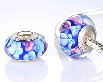 Sterling silver and murano glass pink & blue flower charm beads perfect for pandora and troll or european bracelets