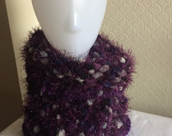 Hand Knitted Purple Cowl Scarf