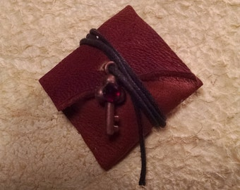 Miniature Leather Pouch with Treasure map and Compass 1:12 scale