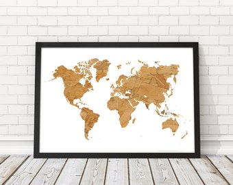 World Map Wood Wall Art world map wood | etsy