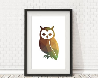 Owl poster, Owl print, Owl polygon, Bird decor, Owl illustration art, PRINTABLE poster, Wall art, Home decor, Bird poster, Animal Poster