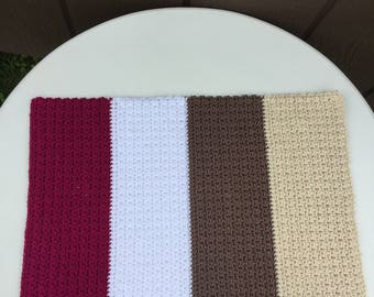 Crochet Placemats - Set of 4,Dining Room Decor, Kitchen Table Decor,Color Block Placemats,Table Linens,Striped Placemats,Modern Placemat Set