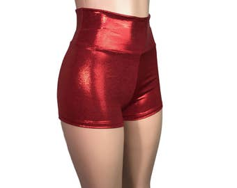 Red Metallic High Waisted Booty Shorts - Club, Festival, or Rave wear - Crossfit - Running