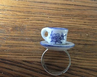 Miniature teacup ring - Vintage doll house - upcycled - blue flower floral pattern design - adjustable