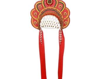"Russian Traditional Folk Costume - Headdress Kokoshnik ""Elena"" red #390"