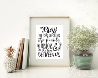"8x10 11x14 ""Bless the food before us"" Print, Digital Print, Subway Art, Word art kitchen sign farmhouse decor watercolor print printable art"