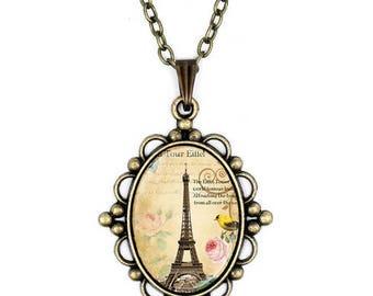 Antique Bronze Eiffel Tower Necklace- Glass Pendant- Paris- Jewelry- Link Chain