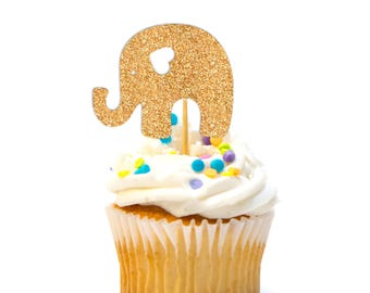 12 CT Glitter Elephant Cupcake Topper Baby Shower Cupcake Topper First Birthday Cupcake Topper Pink & Gold Birthday safari baby shower
