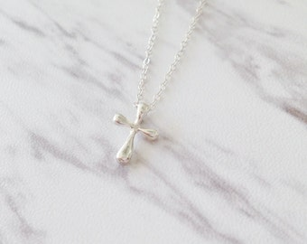 Silver Cross Necklace | Sterling Silver Cross | Tiny Cross Necklace | Confirmation Gift | Baptism Gift | Simple Cross Necklace