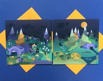 "Lot of 2 cards ""Olili World"""