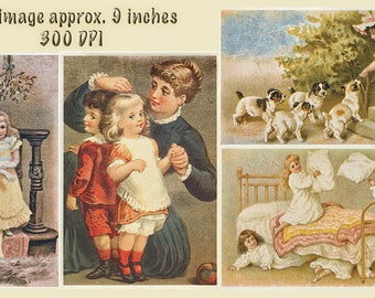 DIGITAL Vintage Greeting Cards, Digital Collage sheets, 4 LARGE files Printable Download,  Vintage ephemera restored, puppies child images