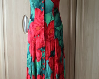 Vintage 90's Flower Sundress with a Crossed Back US Size 8 / Uk/Aus/Nz Size 12 D4